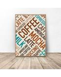 Plakat z kolorowymi napisami Coffee