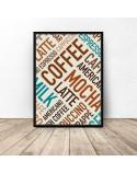 Plakat z kolorowymi napisami Coffee 2