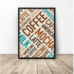 """Plakat z kolorowymi napisami """"Coffee"""""""