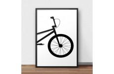 Skandynawski plakat na ścianę z przodem roweru BMX do powieszenia na ścianie