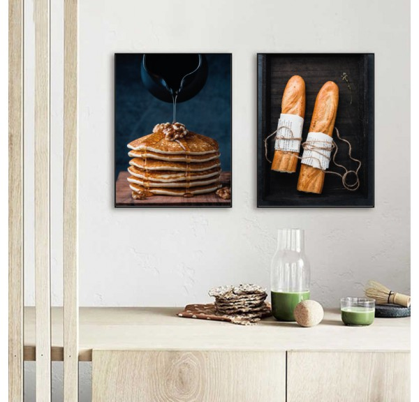 Set of two posters Pancakes and baguettes