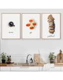 Set of three posters Breakfast