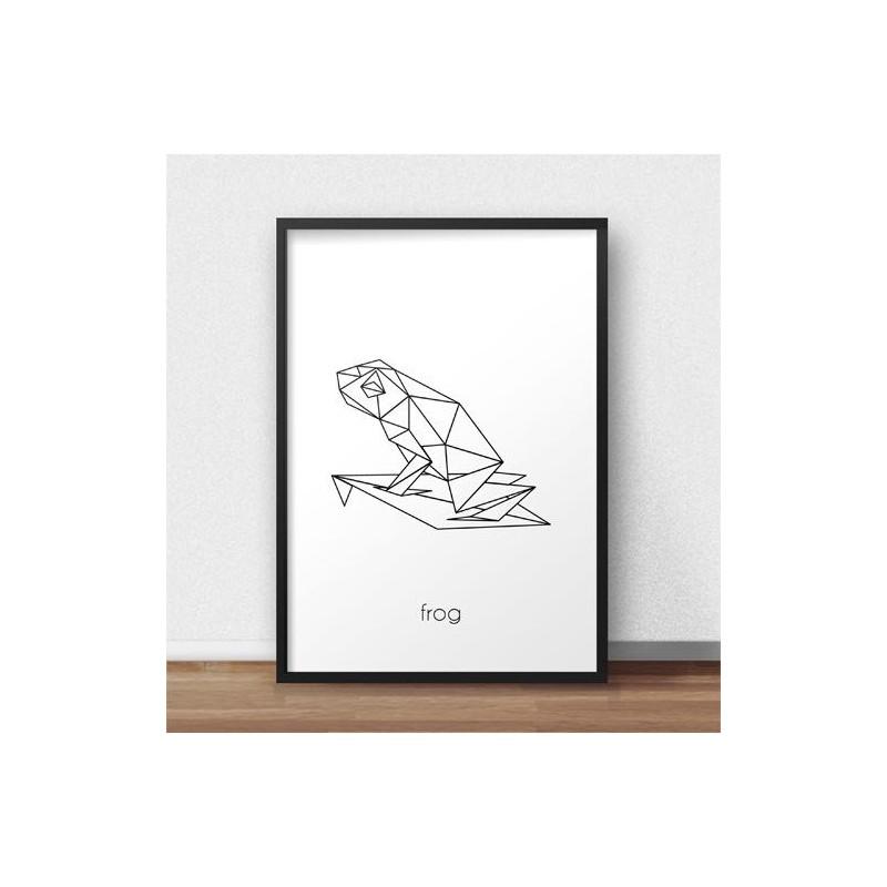Plakat w stylu skandynawskim z żabą do powieszenia na ścianie w salonie i sypialni