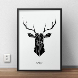 "Plakat z czarnym jeleniem ""Deer"""