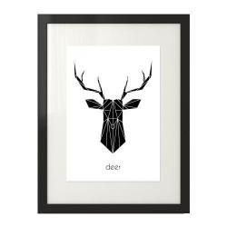 """Plakat z czarną głową jelenia i napisem """"deer"""" do powieszenia na ścianie"""