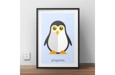 Kolorowy plakat dla dzieci z pastelowym pingwinkiem i napisem pingwinek