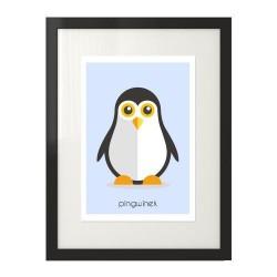 Pastelowy plakat dla dzieci z kolorowym pingwinkiem do powieszenia na ścianę pokoju dziecka