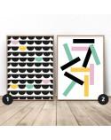 Zestaw 2 kolorowych plakatów abstrakcyjnych