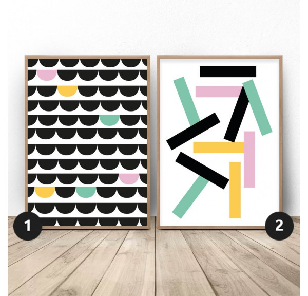 Set of 2 colorful abstract posters