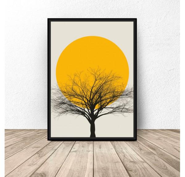 Kolorowy plakat Sunset tree