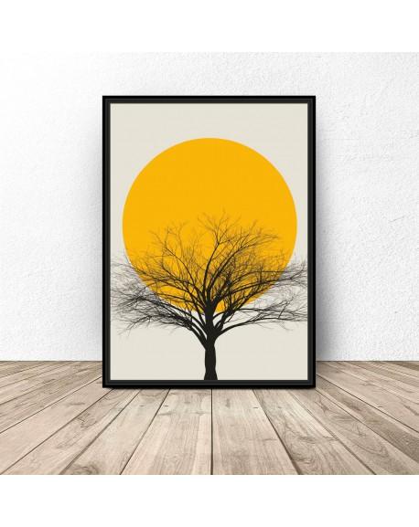 """Kolorowy plakat """"Sunset tree"""""""