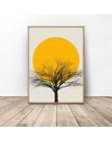 Kolorowy plakat Sunset tree 2