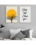 Kolorowy plakat Sunset tree 3