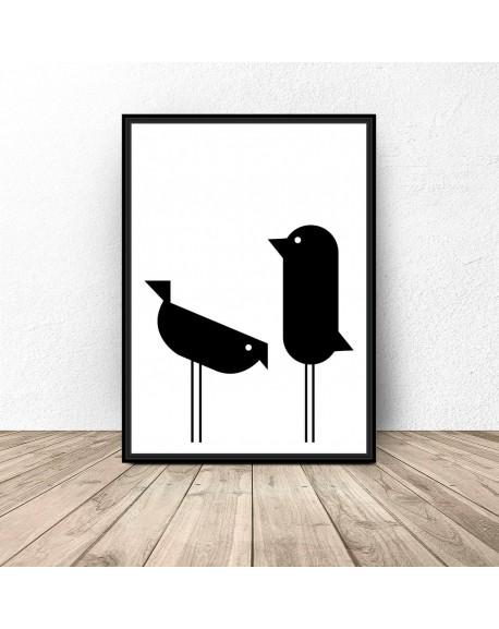 """Plakat geometryczny """"Dwa ptaki"""""""