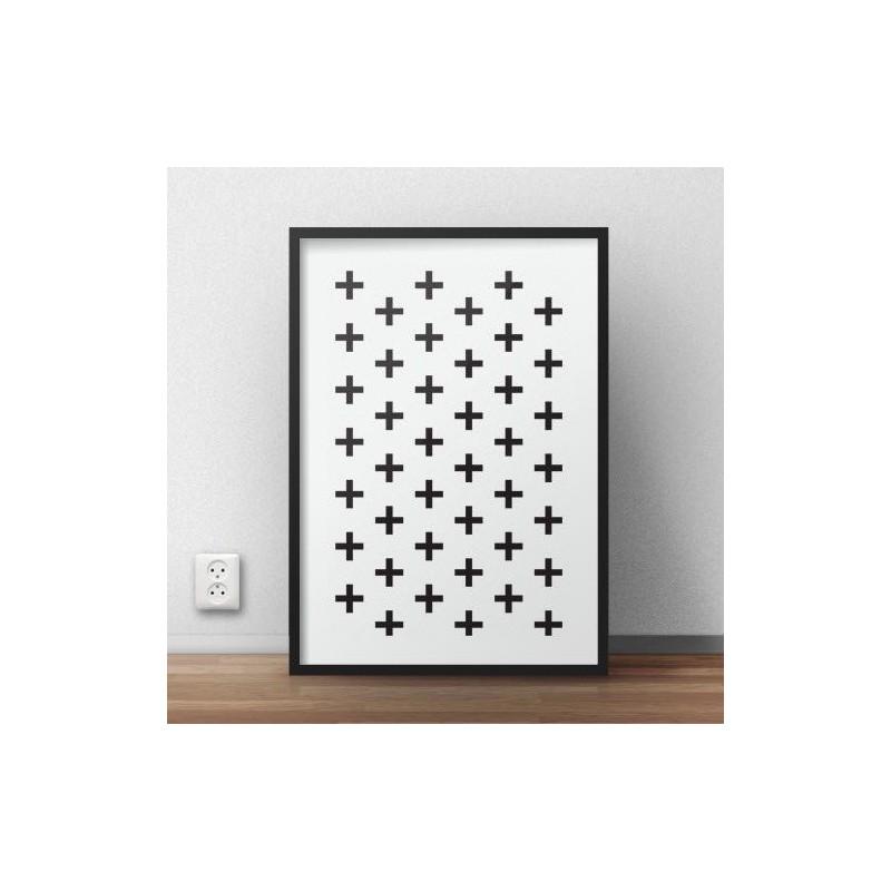 Skandynawski plakat z krzyżykami do powieszenia na ścianie
