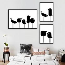 Zestaw 3 plakatów z geometrycznymi ptakami