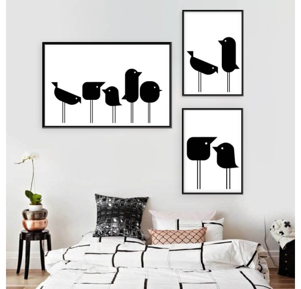 Set of 3 posters with geometric birds
