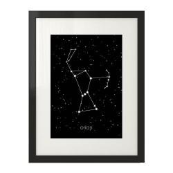 Plakat na ścianę przedstawiający gwiazdozbiór Oriona połączony białą kreską