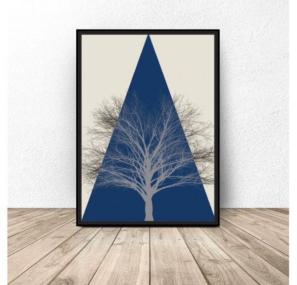 Colorful poster Mountain tree