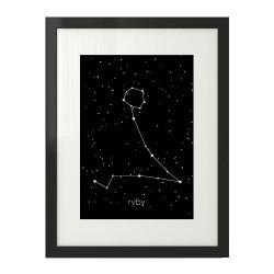 Czarny plakat z gwiazdozbiorem Ryb do powieszenia na ścianie sypialni
