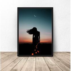 """Plakat """"Kobieta i księżyc"""""""