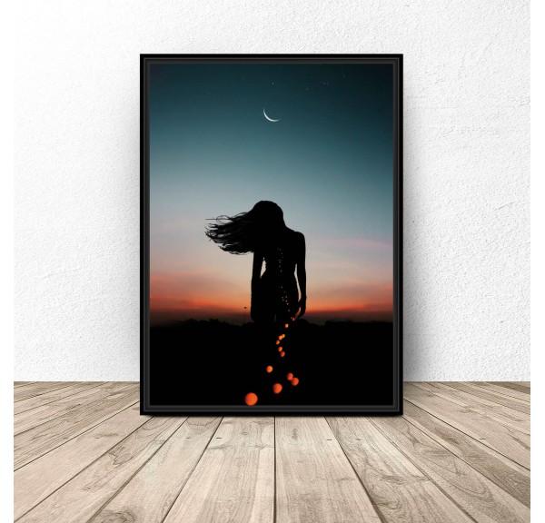 Plakat Kobieta i księżyc