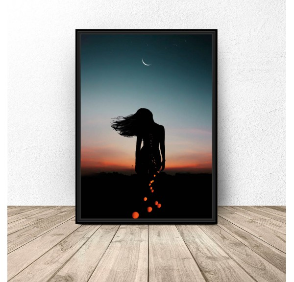 Poster Woman and moon
