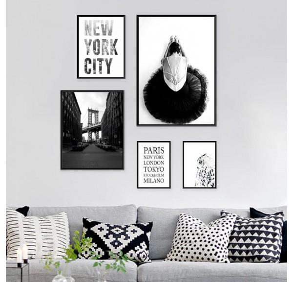 Set of 5 posters Ballerina in New York