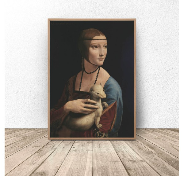 Poster reproduction of Leonardo da Vinci's Lady with a Weafer