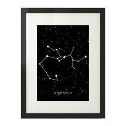 Plakat w ramie z gwiazdozbiorem Strzeleca i podpisem w łacinie Sagittarius