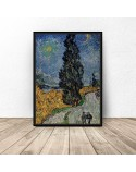 Plakat reprodukcja Droga z cyprysem i gwiazdą Vincent van Gogh