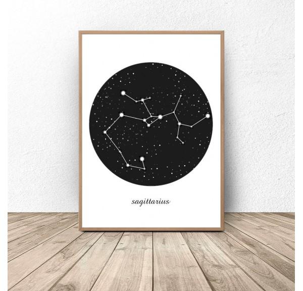 Plakat gwiazdozbiór Strzelec