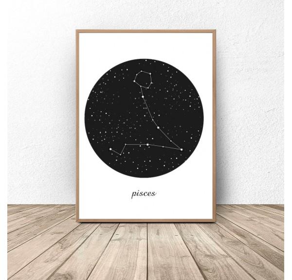 Plakat gwiazdozbiór Ryby