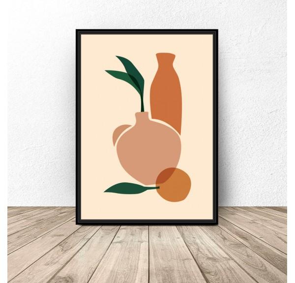 Plakat abstrakcyjny Dwa wazony z pomarańczą