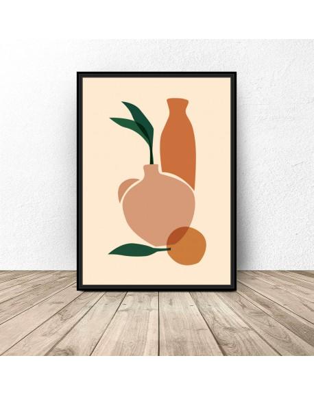 """Plakat abstrakcyjny """"Dwa wazony z pomarańczą"""""""