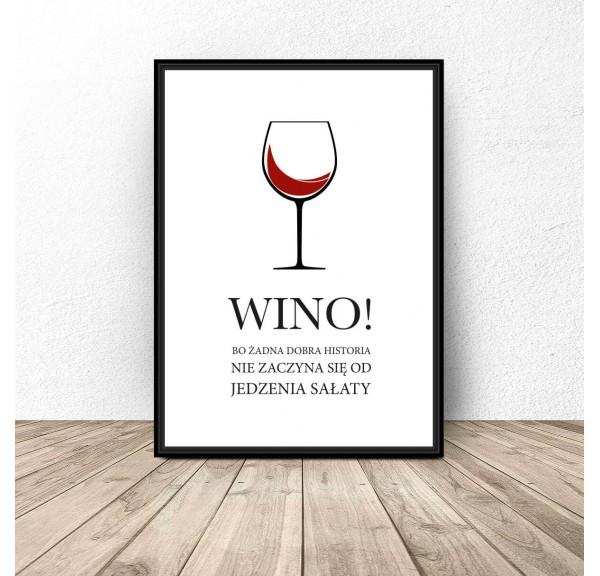 Plakat do kuchni Wino i sałata