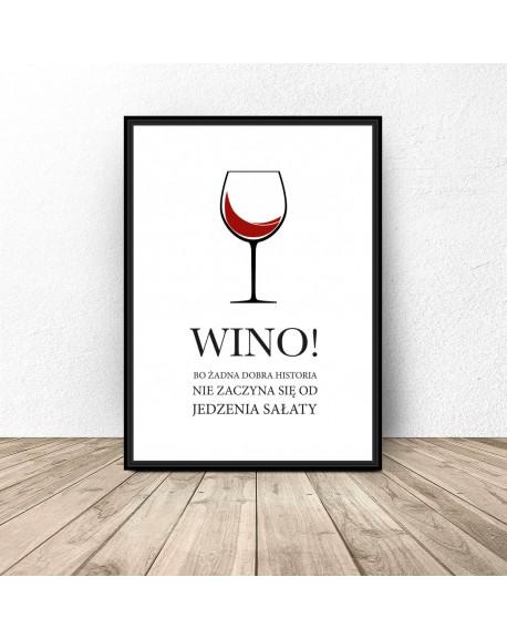 """Plakat do kuchni """"Wino i sałata"""""""
