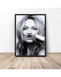 Plakat Kate Moss z wąsami 2