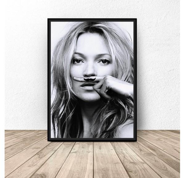 Plakat Kate Moss z wąsami