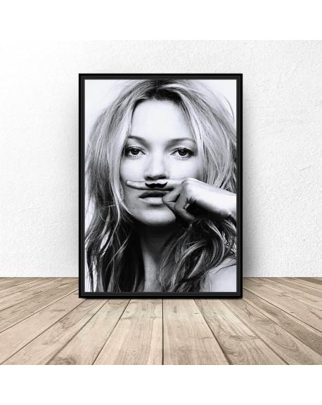 """Plakat """"Kate Moss z wąsami"""""""