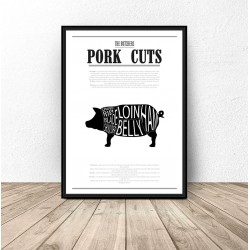 "Plakat do kuchni ""Pork Cuts"""