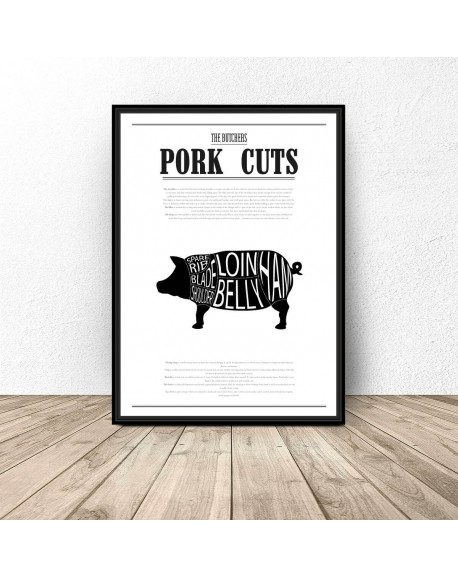"""Plakat do kuchni """"Pork Cuts"""""""
