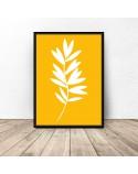 Żółty plakat Biała roślinka