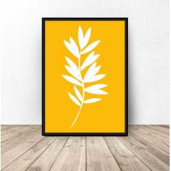 """Żółty plakat """"Biała roślinka"""""""