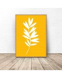 Żółty plakat Biała roślinka 3