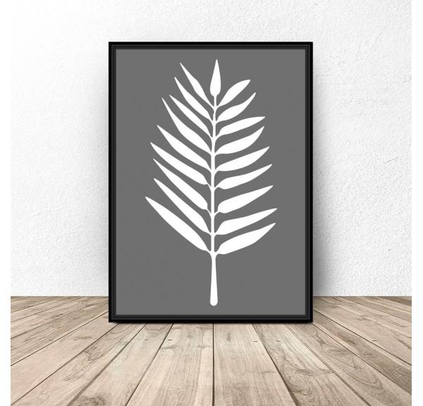 Szary plakat Biały liść
