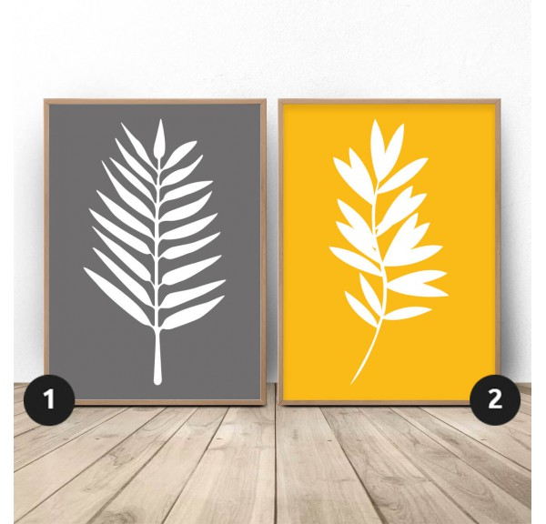 Set of two posters White leaves
