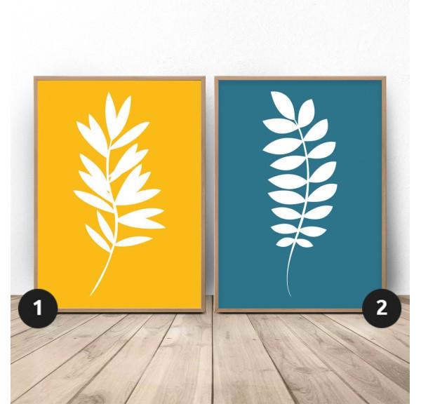 Zestaw dwóch plakatów Białe roślinki