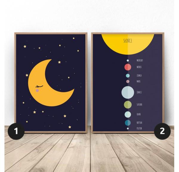 Zestaw plakatów Księżyc i planety