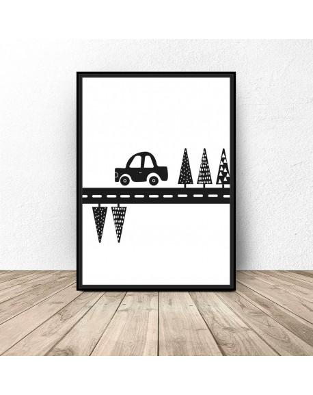 """Plakat dla dzieci """"Samochodzik"""""""